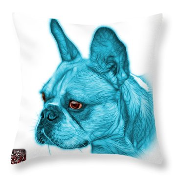 Cyan French Bulldog Pop Art - 0755 Wb Throw Pillow