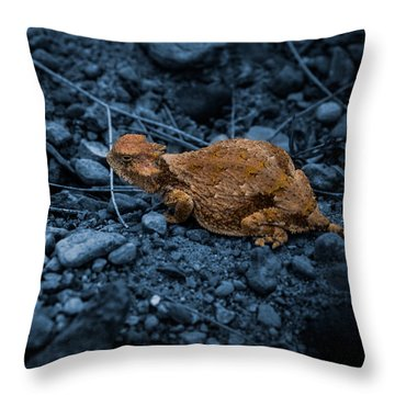 Cyanotype Horned Toad Throw Pillow
