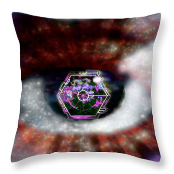 Throw Pillow featuring the digital art Cyber Oculus Cumulus by Iowan Stone-Flowers