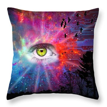 Cyber Sky Throw Pillow