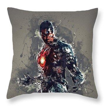 Cyborg Throw Pillow by Elena Kosvincheva