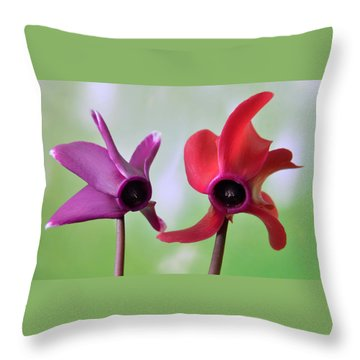 Cyclamen Duet. Throw Pillow