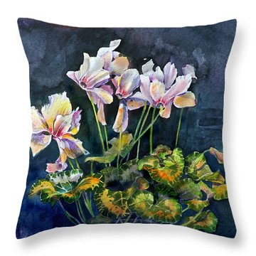 Throw Pillow featuring the painting Cyclamen In A Vase by Gertrude Palmer