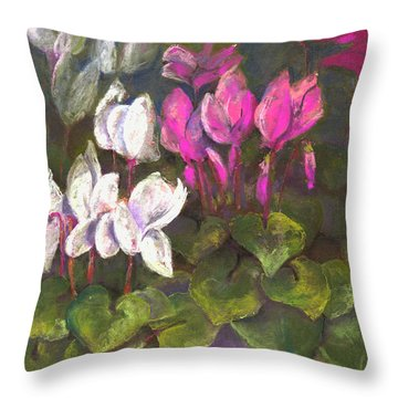 Cyclamen Throw Pillow by Julie Maas