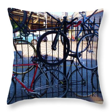 Cycle Fence Throw Pillow by Anna Villarreal Garbis