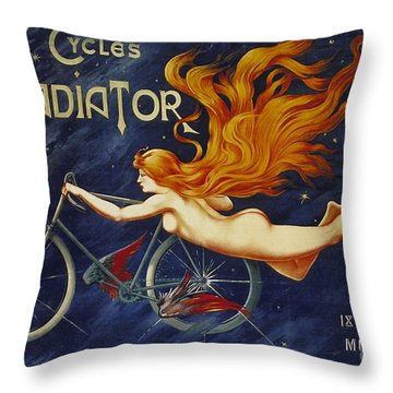 Cycles Gladiator  Vintage Cycling Poster Throw Pillow