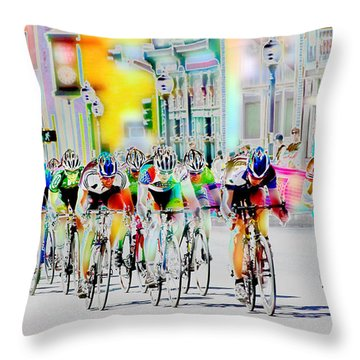 Cycling Down Main Street Usa Throw Pillow