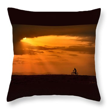 Cycling Into Sunrays Throw Pillow