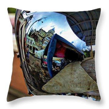 Throw Pillow featuring the photograph Cyclist's View Of Biblian Church by Al Bourassa