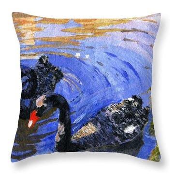 Cygnus Atratus Throw Pillow by Lynne Reichhart