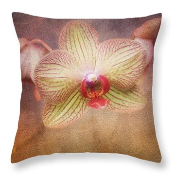 Cymbidium Orchid Throw Pillow