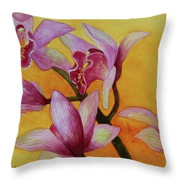 Cymbidium Orchids Throw Pillow by Kerri Ligatich