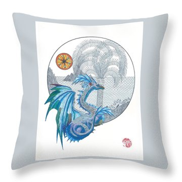 Throw Pillow featuring the painting Cymru by Dianne Levy