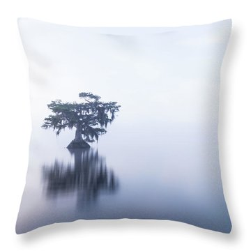 Cypress In Heavy Fog Throw Pillow