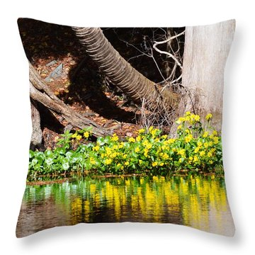 Cypress And Flower Reflections Throw Pillow by Warren Thompson
