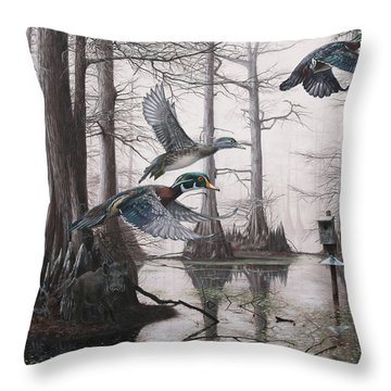 Cypress Bayou Neighbors Throw Pillow