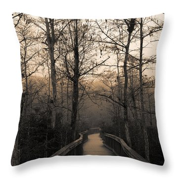 Throw Pillow featuring the photograph Cypress Boardwalk by Gary Dean Mercer Clark