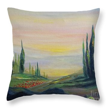 Cypress Dawn Landscape Throw Pillow