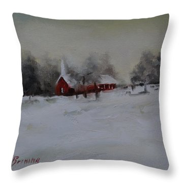 Cypress In The Snow Throw Pillow