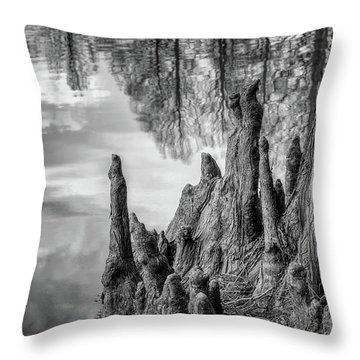 Throw Pillow featuring the photograph Cypress Knees In Bw by James Barber