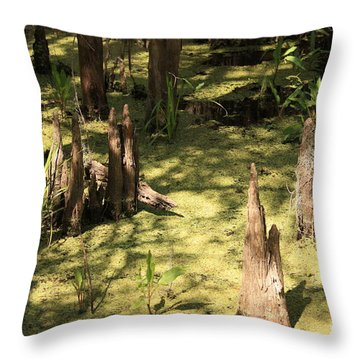 Cypress Knees In Green Swamp Throw Pillow by Carol Groenen
