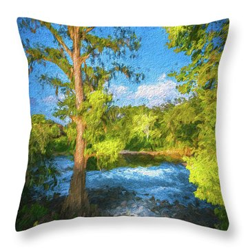 Cypress Tree By The River Throw Pillow