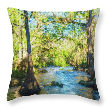 Cypress Trees On The River Throw Pillow