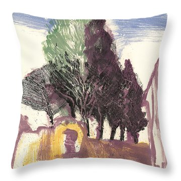 Throw Pillow featuring the painting Cypresses Bonnieux by Martin Stankewitz