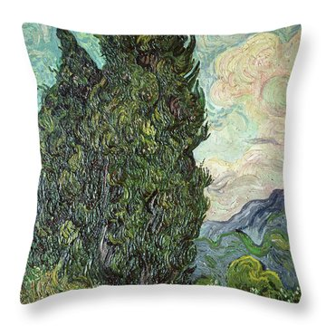 Cypresses Throw Pillow by Vincent Van Gogh