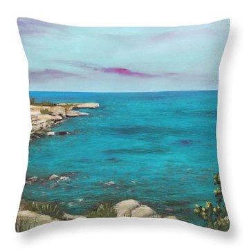 Throw Pillow featuring the painting Cyprus - Protaras by Anastasiya Malakhova