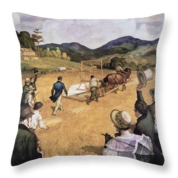 Cyrus H Mccormick And His Reaping Machine Throw Pillow