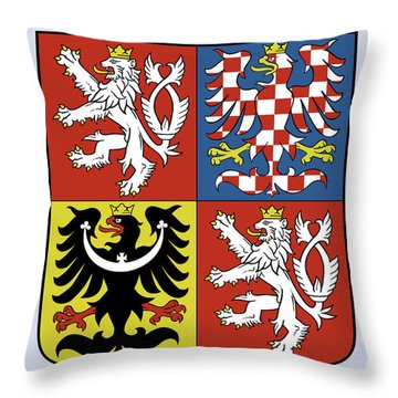 Throw Pillow featuring the drawing Czech Republic Coat Of Arms by Movie Poster Prints