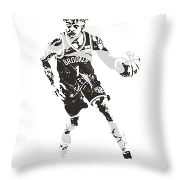 D Angelo Russell Brooklyn Nets Pixel Art 10 Throw Pillow