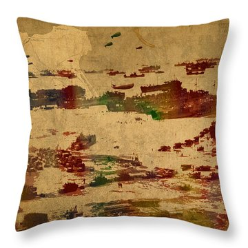 D Day Landing At Normandy France World War Two Watercolor On Old Canvas Map Of War Plans Throw Pillow