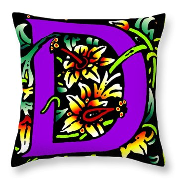 D In Purple Throw Pillow by Kathleen Sepulveda