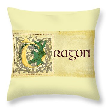 Throw Pillow featuring the digital art D Is For Dragon Page Gold by Donna Huntriss