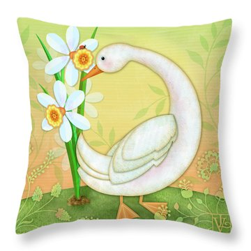 D Is For Duck And Daffodils Throw Pillow