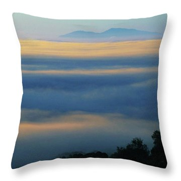 Throw Pillow featuring the photograph D8b6320 Mt. Diablo And Fog From Sonoma Mountain Ca by Ed Cooper Photography