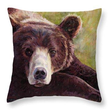Da Bear Throw Pillow by Billie Colson