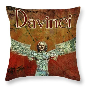 Throw Pillow featuring the digital art da Vinci 2023 by Greg Sharpe