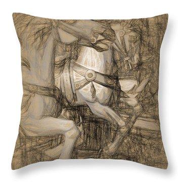 Da Vinci Carousel Throw Pillow