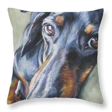 Dachshund Black And Tan Throw Pillow by Lee Ann Shepard