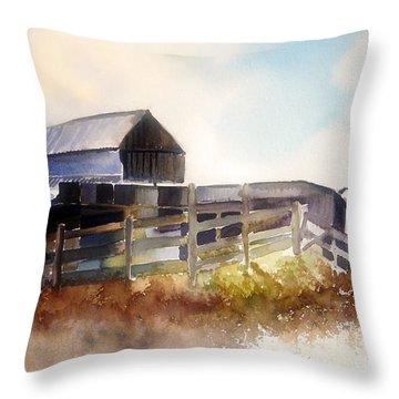 Throw Pillow featuring the painting Dad' Farmhouse by Allison Ashton