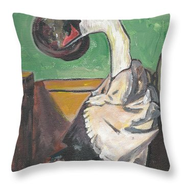 Throw Pillow featuring the painting Dada by Janelle Dey