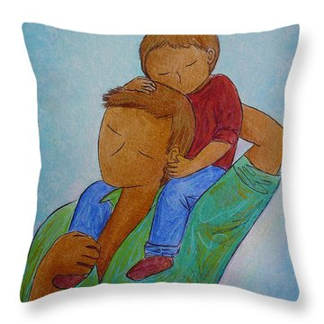 Daddy And Me Throw Pillow by Gioia Albano