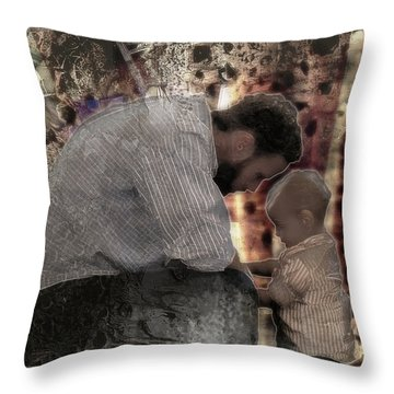 Throw Pillow featuring the photograph Daddys Hands by Kate Word