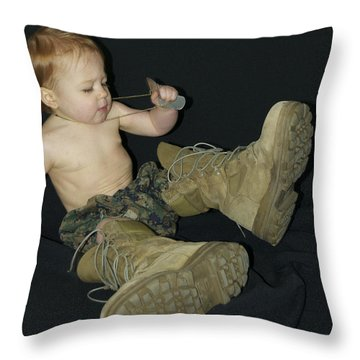 Daddys Shoes Throw Pillow by Michael Peychich