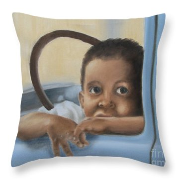 Throw Pillow featuring the painting Daddy's Truck by Annemeet Hasidi- van der Leij