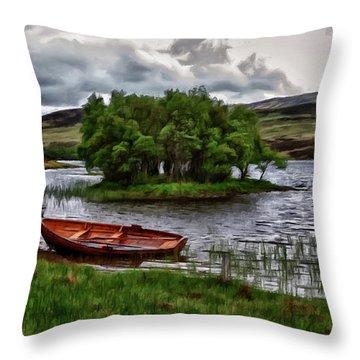 Throw Pillow featuring the painting Dads Fishing Spot P D P by David Dehner