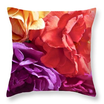 Dad's Roses Throw Pillow by Gwyn Newcombe